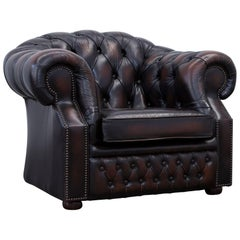 Chesterfield Armchair Leather Brown One Seat Couch Vintage Retro