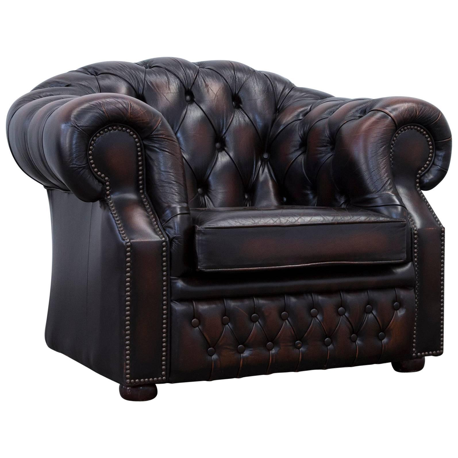 Chesterfield Armchair Leather Brown One Seat Couch Vintage Retro For Sale