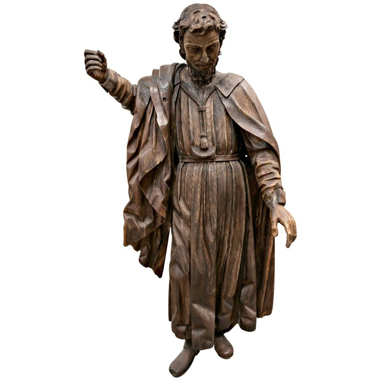Rare 18th Century Life Size Carved Wood Statue of St. Joseph For Sale