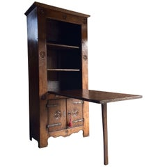 Rare 16th Century Dutch Solid Oak Cupboard Featuring Drop-Down Farmhouse Table