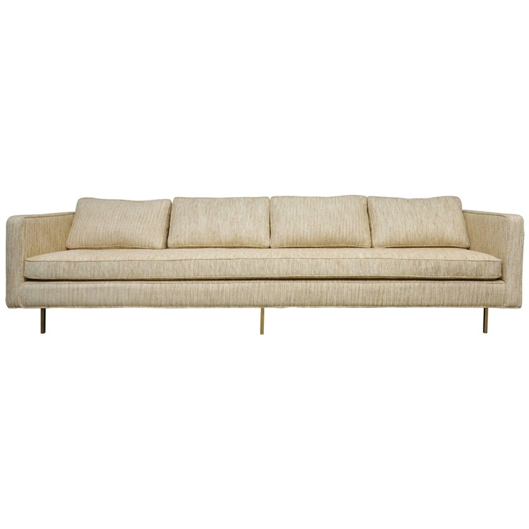 Harvey Probber Even Arm Sofa on Brass Legs 1