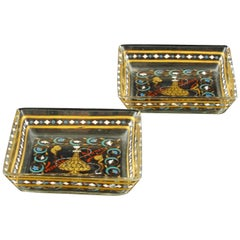 Art Nouveau Pair of Emile Galle Pin Trays in the Islamic Style