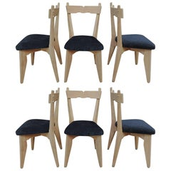 Guillerme & Chambron Set of Six Dining Chairs in Oak and Fabric Reupholstered