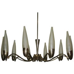 Chandelier Mid century modern Italian design brass and glass satin finish