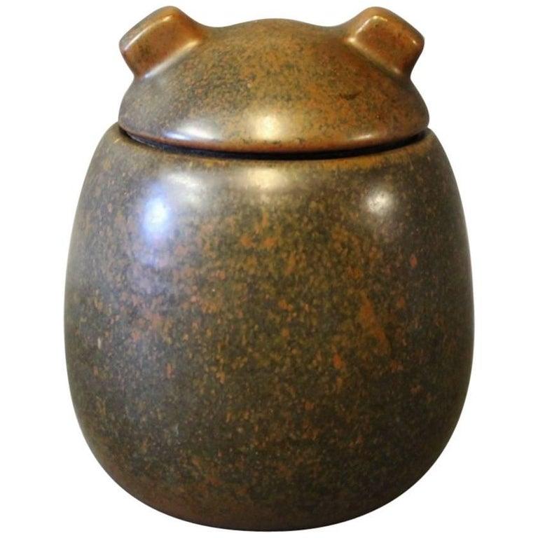 Ceramic Lidded Jar with Dark Brown Glaze by Erik Rahr for Saxbo