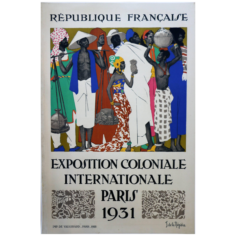 Rare Lithographic Poster by De La Mézière for the 1931 Paris Colonial Exhibition