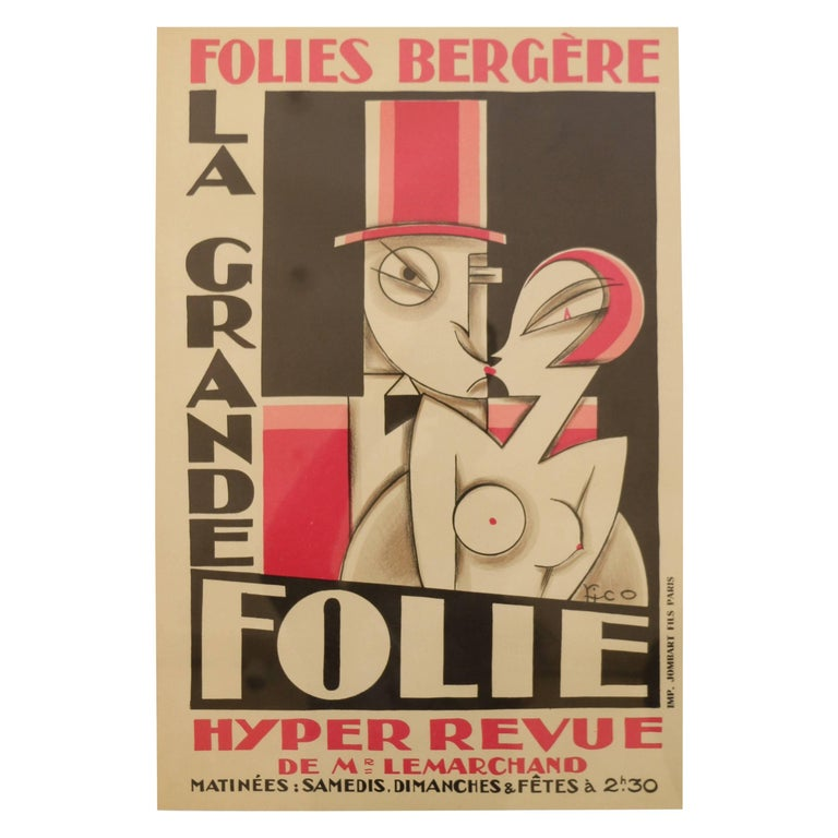 Original and Rare Lithographic Poster by Pico, Art Deco, France, 1920s For Sale