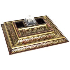 19th Century French Boulle & Cut Brass Inkstand