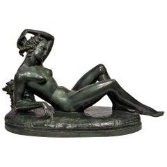'Nu Couche', an Art Deco Bronze by E Montag