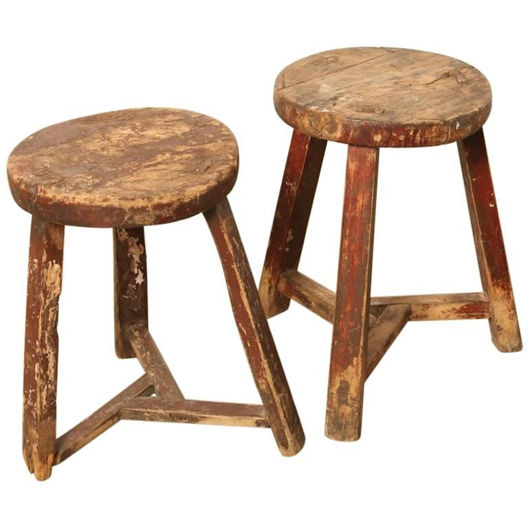 Pair of Antique Chinese Workers Stools