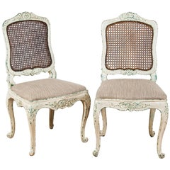 19th Century Pair of Louis XV Style Chairs New Patina in the Gustavian Style