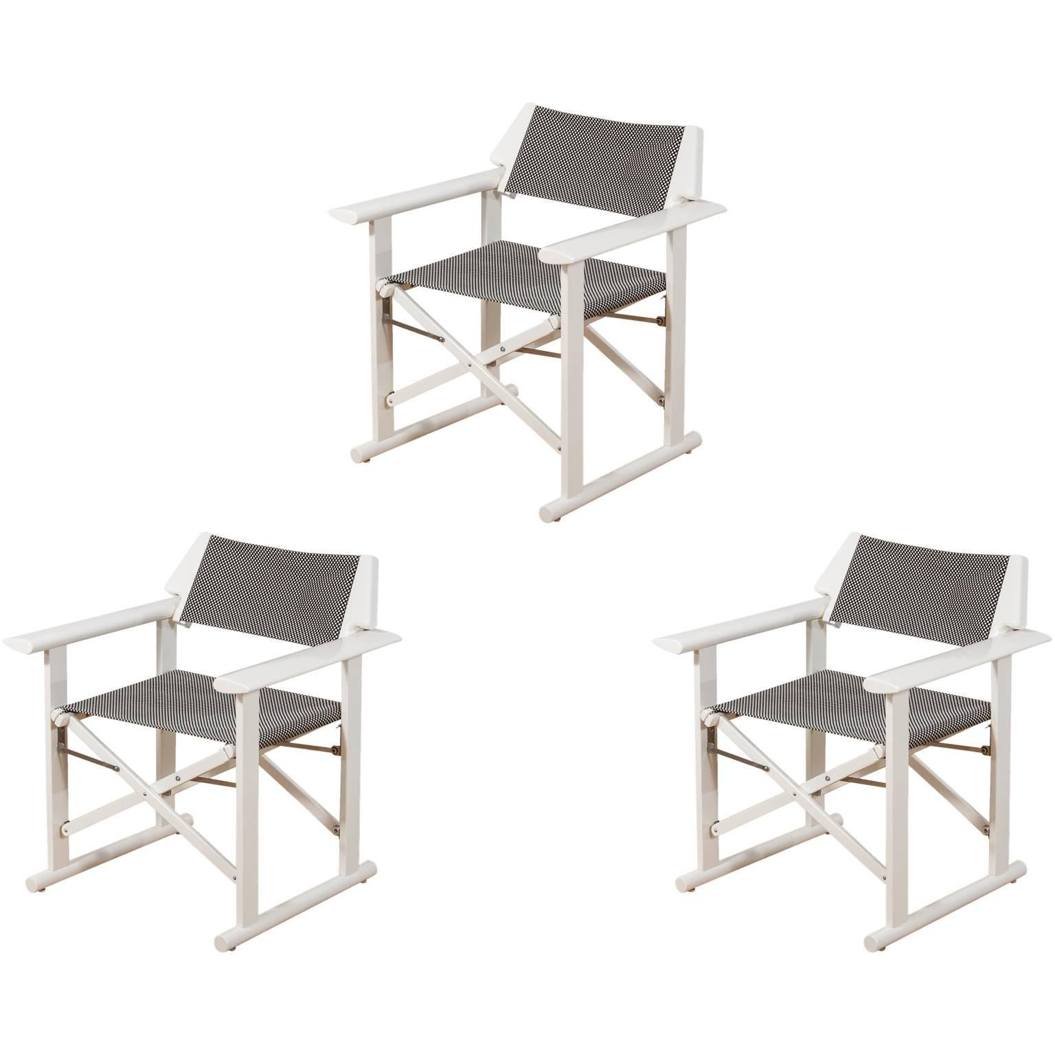 Three Modern Directors Chairs Produced By Fratelli Reguitti, Italy, Circa  1970 For Sale