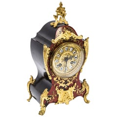 Antique Boulle Red Tortoiseshell Brass Inlaid Mantel Clock, circa 1875