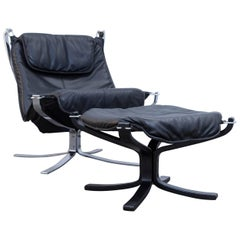 Sigurd Resell Falcon Chair Leather Black Chrome One-Seat Footstool Modern