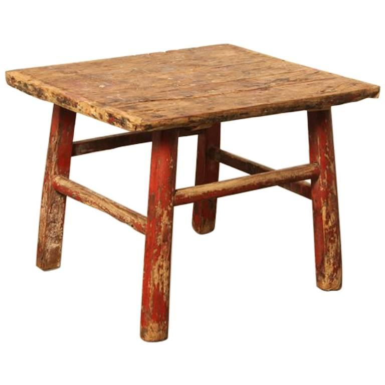 Antique 19th century chinese workers table or stool for for Antique chinese tables for sale
