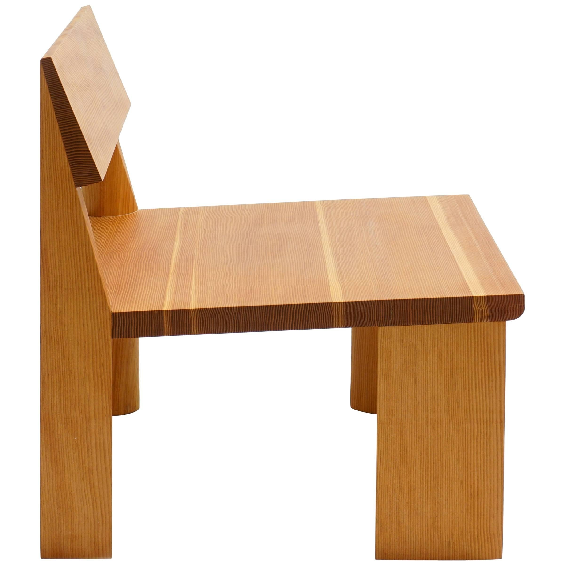 Contemporary Low Wooden Chair In Douglas Fir, LWC By Jonathan Muecke 1