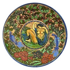 French Enameled Art Deco Ceramic Plate by Odette Heiligenstein-Chatrousse, 1925