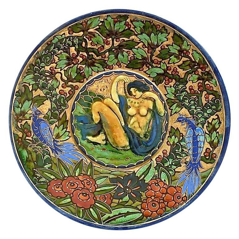 Art Deco Ceramic Plate by Odette Heiligenstein-Chatrousse, 1925, French Enamel