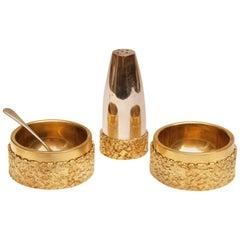 Mappin & Webb Silver and Gold Gilt Cruet Set