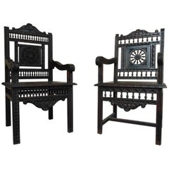 Armchairs,  Pair of Carved Breton circa 1880