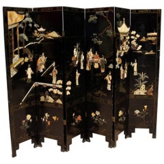 20th Century French Chinoiserie Painted Screen