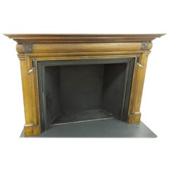 19th Century Victorian Carved Oak and Ebony Bolection Fire Surround