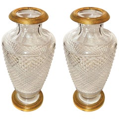 Pair of French Empire Gilt Doré Bronze Diamond Cut Crystal Ormolu Vases