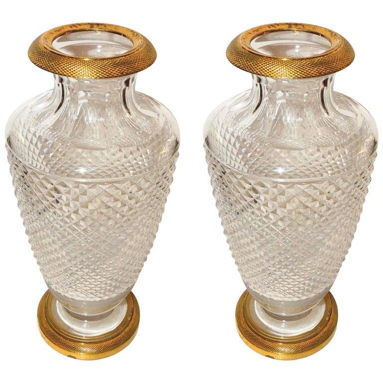 Pair Of French Empire Gilt Dor Bronze Diamond Cut Crystal Ormolu