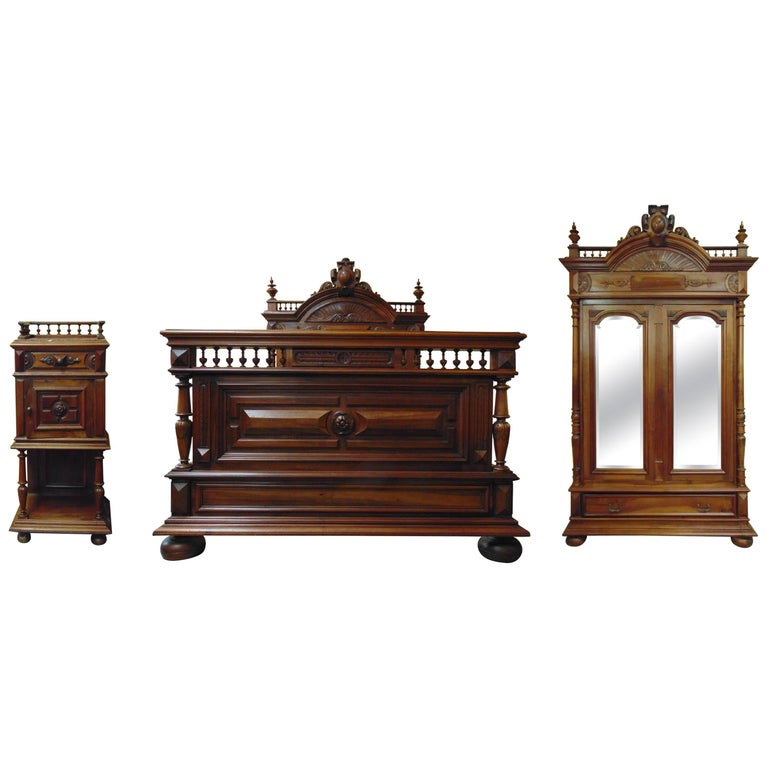 Henri Ii Style Walnut Bedroom Suite Circa 1880 For Sale