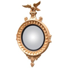 Federal Style Round Gold Gilt Eagle Mirror by Labarge