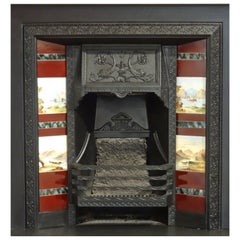 Victorian Scottish Cast Iron Fireplace Insert Grate with Hand-Painted Tiles