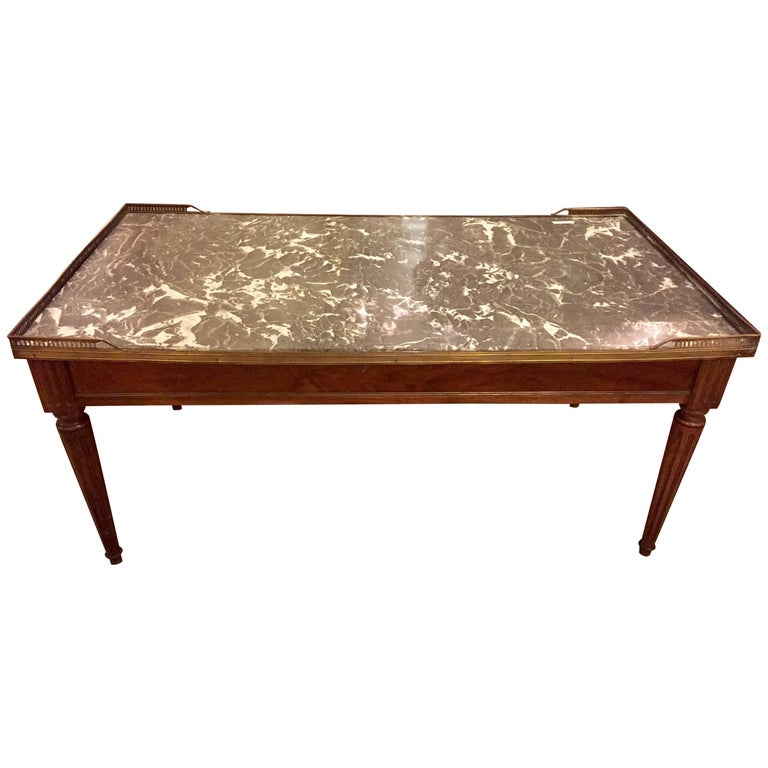 Louis Xvi Style Marble Top Maison Jansen Low Table Coffee Table For Sale At 1stdibs
