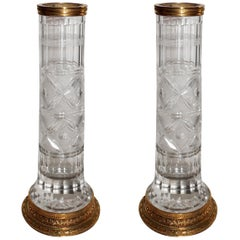 Wonderful Pair of French Gilt Doré Bronze Etched Cut Crystal Glass Ormolu Vases