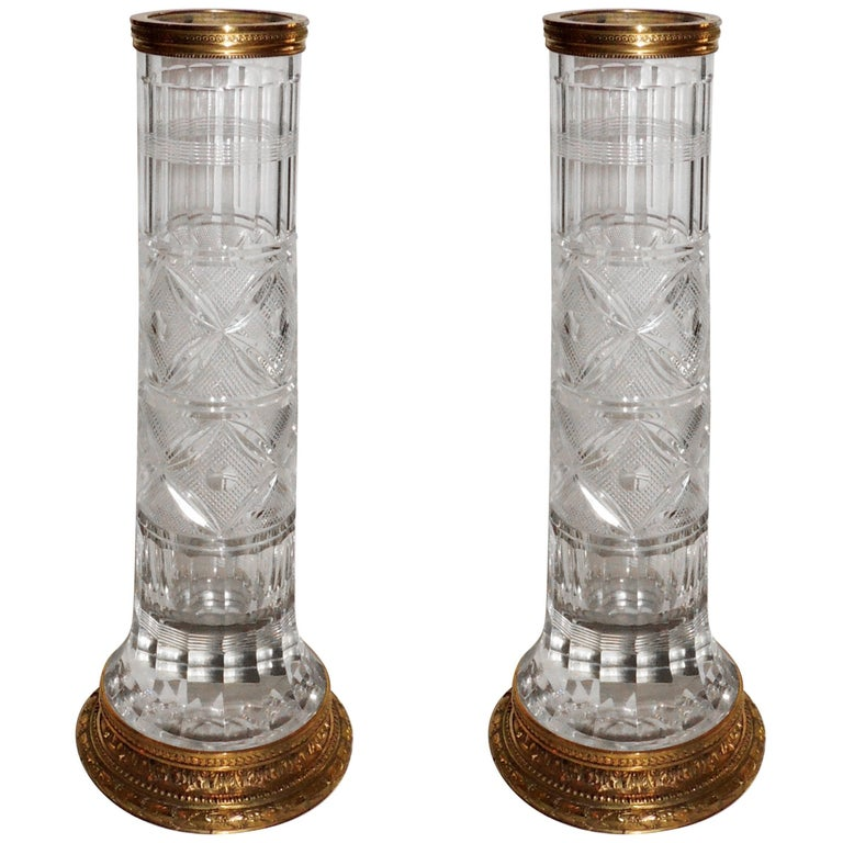 wonderful pair of french gilt dor bronze etched cut crystal glass ormolu vases for sale at 1stdibs. Black Bedroom Furniture Sets. Home Design Ideas