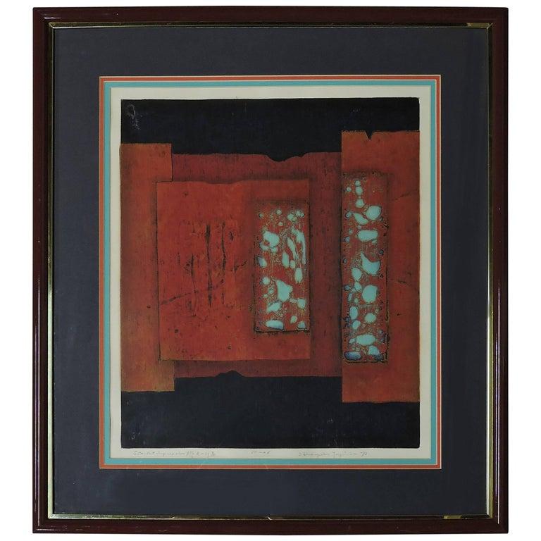 Mid-Century Modern Hiroyuki Tajima Abstract Japanese Woodcut Print For Sale