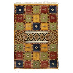 Berber Moroccan Kilim Rug with Tribal Style, High and Low Texture Rug