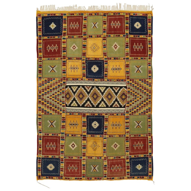 Berber Moroccan Kilim Rug with High-Low Pile, Flat-Weave Rug with Tribal Style