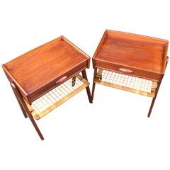 Very Near Matching Pair of Danish Midcentury Teak Bedside Tables