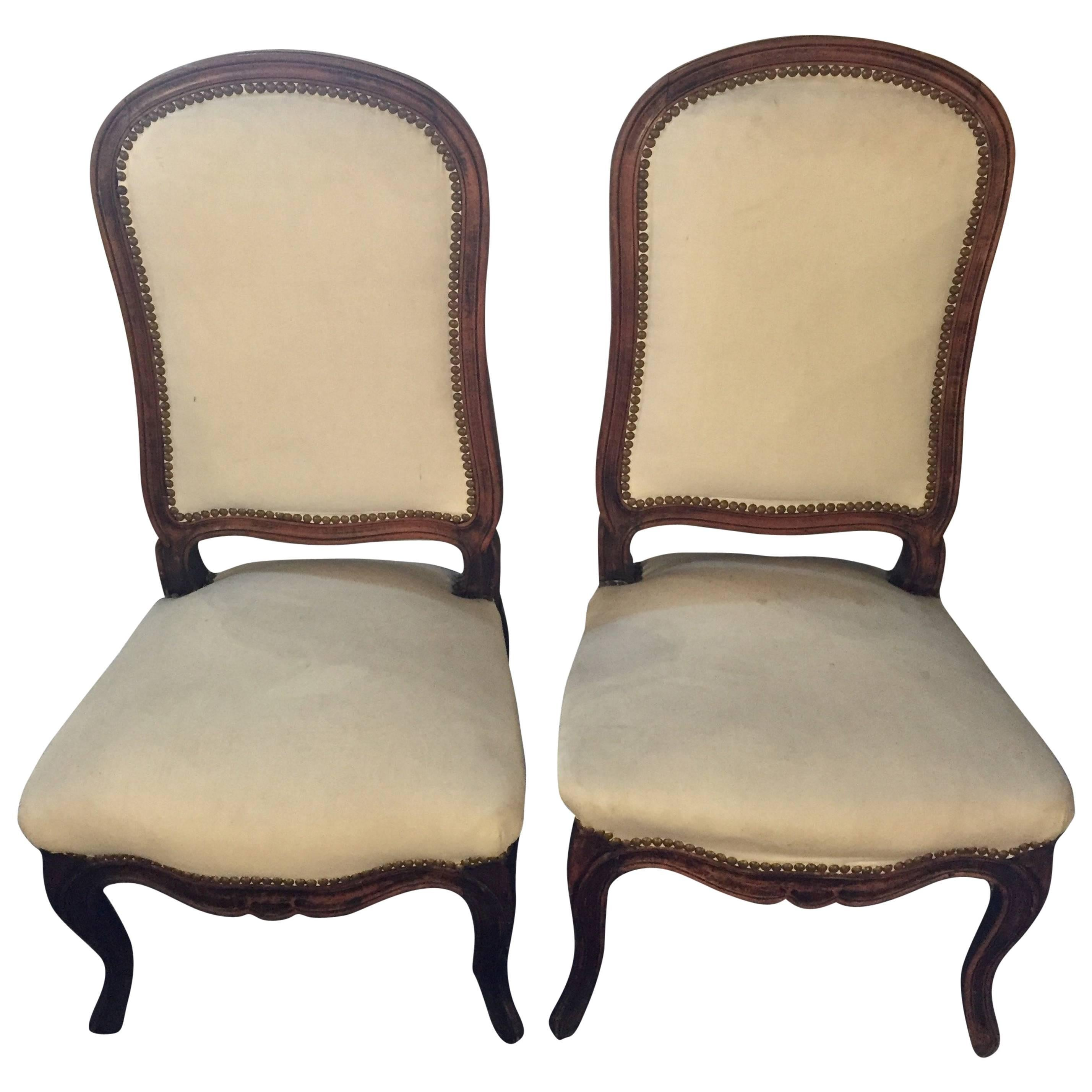 Pair of Louis XV Style Maison Jansen Attributed Boudoir/Slipper or Side Chairs
