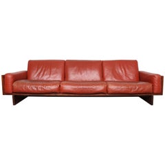 Mid-Century Modern Red Leather Three-Seat Sofa by Torbjørn Afdal