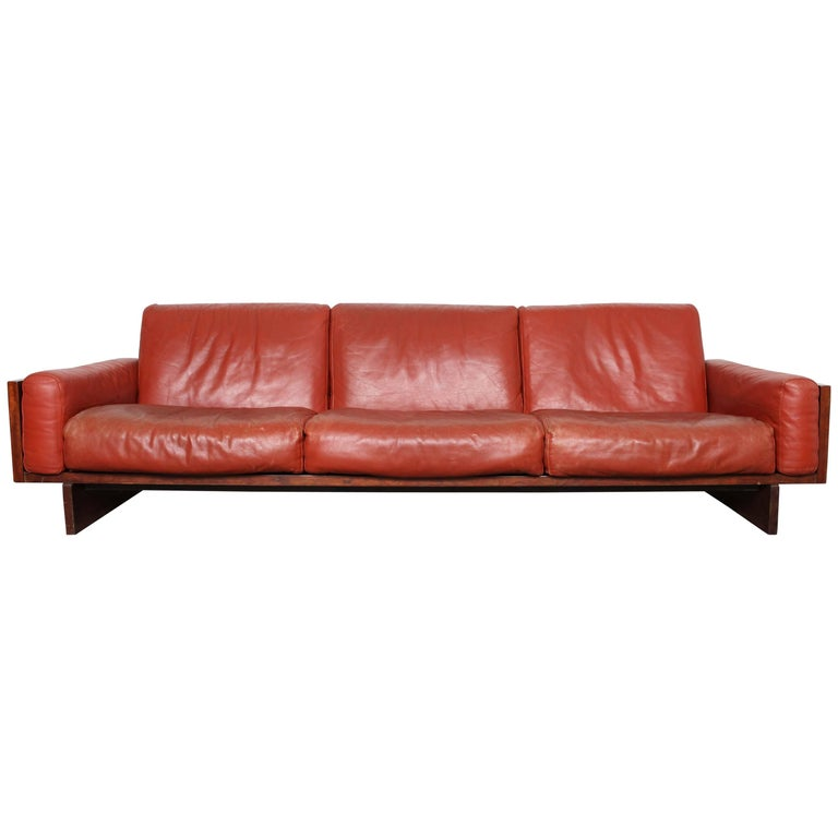 Mid-Century Modern Red Leather Three-Seat Sofa by Torbjørn Afdal For Sale
