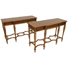 Pair of Cherry Console Table by Mario Buatta for Widdicomb Furniture
