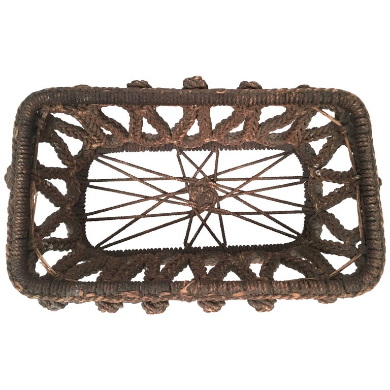 19th Century Sailor Made Ropework Basket 1