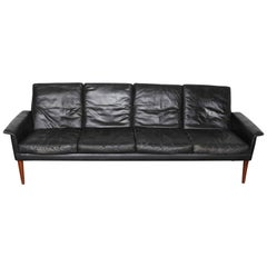 Mid-Century Modern Four-Seat Black Leather Sofa by Hans Olsen of Norway