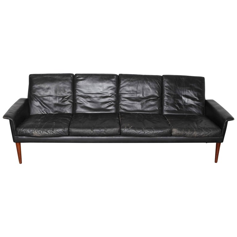 Mid Century Modern Four Seat Black Leather Sofa By Hans Olsen Of