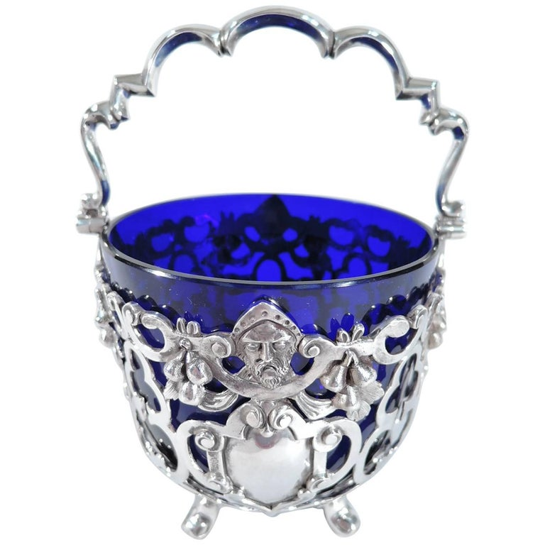 Antique English Sterling Silver Basket With Olden Days