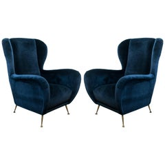 Pair of Midcentury Italian Chairs by Paolo Buffa in Navy Velvet
