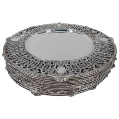 Set of 12 Dominick & Haff Lafayette Sterling Silver Dinner Chargers