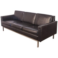 Florence Knoll Style Black Chrome Frame Sofa for Steelcase