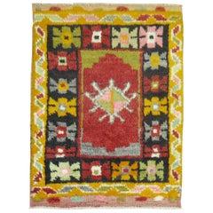 Vintage Turkish Konya Small Square Rug